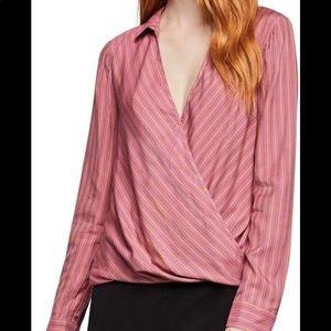 BCBGMaxAzria faux wrap multi color blouse
